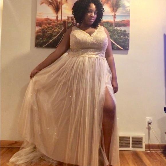 Custom Plus size ivory/gold Wedding Dress